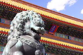 Stone lions and Hall of Supreme Harmony Palace — Stock Photo