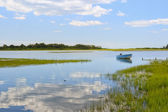 Blue boat in the backwaters — Stock Photo
