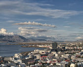 Beautiful wide angle aerial view of Reykjavik Iceland skyline — Stock Photo