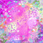 Valentines Day pastel grunge hearts abstract background with copy space — Photo