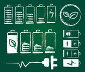 Sketch battery charge level indicators Design On Blackboard — Wektor stockowy