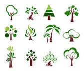 Conjunto de ícones de árvore — Vetor de Stock