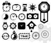 Time, clock icons set, vector — Stok Vektör