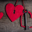 Key with the hearts as a symbol of love. Heart with a keyhole. Key of my heart concept. — Stock Photo