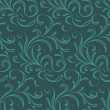Seamless Floral Pattern on dark green background — Stock Vector