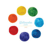 Set of circles of watercolor. Rainbow colors  isolated on white  — Stock Vector