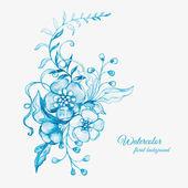 水彩画の花の背景。またはグリーティング カードとして使用することができます。 — ストックベクタ