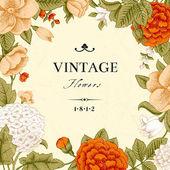 Cartão vintage com flores — Vetorial Stock