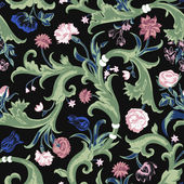 Seamless vector dark vintage floral pattern in baroque style — Stock Vector