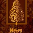 Card with golden Christmas tree and a brown background — Stok Vektör