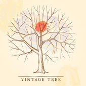 Vintage tree with a red blot — Stock Vector