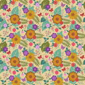Brown seamless pattern with wild flowers — Stock Vector