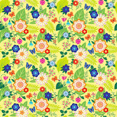 Green seamless pattern with wild flowers — Stock Vector