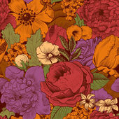 Seamless vintage pattern with lush colorful flowers — Stock Vector