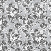 Gray vintage seamless pattern with garden roses — Stockvektor