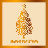 Beige Christmas card with golden Christmas tree — Stock Vector