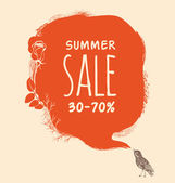 Background to the nightingale and blot. Summer sale — Stock Vector