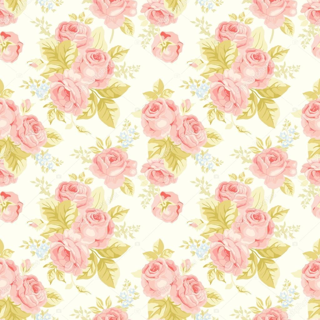 Patrones sin fisuras con rosas vintage — Vector de stock