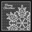 Beautiful vector Christmas card with vintage lace snowflake style handmade lace. — Stock Vector