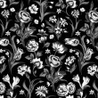 Elegant dark vector seamless vintage floral pattern. — Stock Vector