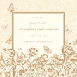 Vector vintage wedding card with flowers and butterflies. — Stock Vector