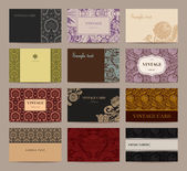 Set of vintage business cards. Twelve pieces. — Stockvektor