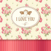 Vintage card with roses in the background and Cupid. — Stock Vector