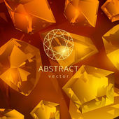 Abstract yellow-orange background with glowing gems, topaz and quartz. — Stockvector