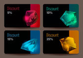 A set of discount cards with precious stones — Vetorial Stock
