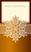 Beautiful Christmas card with lace vintage snowflake. — Stock Vector