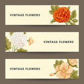 Set of horizontal banners with vintage flowers. — Vettoriale Stock