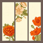 A set of vertical banners with vintage flowers. — Stock Vector