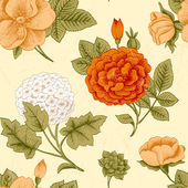 Seamless pattern with vintage flowers. — Stock Vector