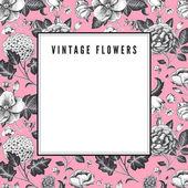 Elegant Vintage card with various garden flowers. — Stock Vector