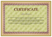 Horizontal vector certificate template with guilloche elements. — Stock Vector