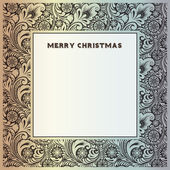 Silver vintage frame for congratulations on Christmas and New Year with winter frost patterns with snowflakes. — Vector de stock