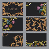 A set of horizontal business cards vintage in Baroque style. — Stock Vector