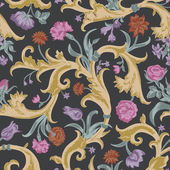 Seamless vector dark vintage floral pattern in baroque style. — Stock Vector