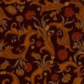 Wektor bezszwowe ciemny wzór kwiatowy wzór w stylu barokowym. — Wektor stockowy