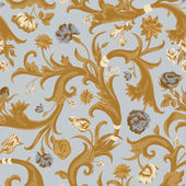 Seamless vector light vintage floral pattern in baroque style. — Stock Vector