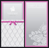 Vertical stylish elegant invitations with a vintage black and gray patterns of flowers — Stock Vector