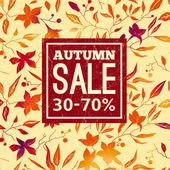Venda de outono. de fundo vector com laranja brilhante, vermelhas folhas e flores — Vetor de Stock