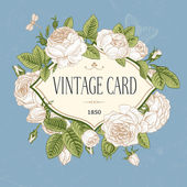 Vector vintage postcard. Frame of blooming roses — Cтоковый вектор
