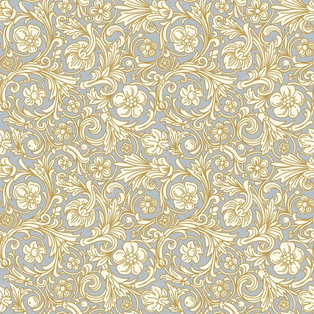 vector pattern in baroque style. Stylized beige flowers and beige ...