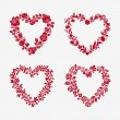 Set of vector floral frames in the shape of heart — Stock Vector #38121361