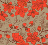 Vintage vector seamless spring floral background — Stock Vector