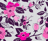 Floral vector seamless retro pattern with blossoming branches — Stock Vector