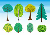 Vector set of colorful shrubs and trees — Stock Vector