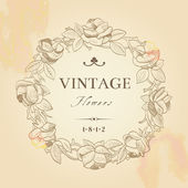 Vintage vector background with a round wreath — Stock Vector