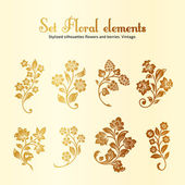 Vector set of vintage floral elements — Stock Vector
